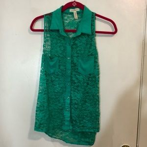 Ambiance Apparel Lace Button Up Blouse